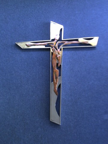 abstract ss. & copper Crucifix
